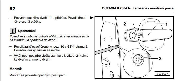 Výměna vložky zámku octavia